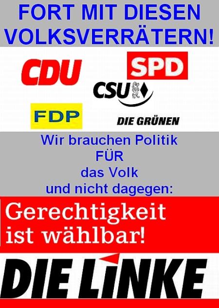 CDU SPD FDP Die Grünen - Fort mit diesen Volksverrätern und Finanzmarionetten