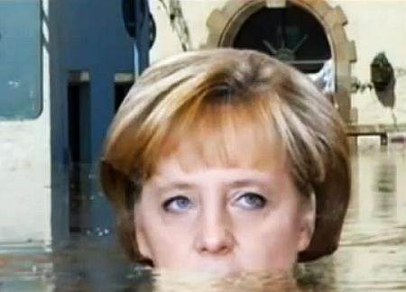 Hochwasser - Katastrophentouristin Angela Merkel