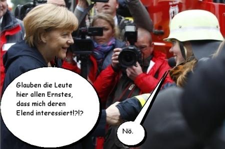 Hochwasser - Katastrophentouristin Merkel