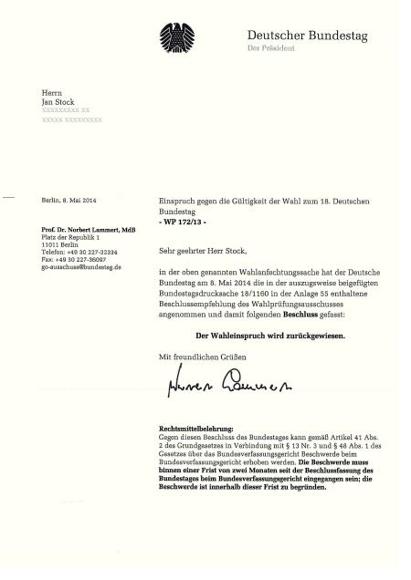 Bundestag lehnt Einspruch zur Bundestagswahl ab -0