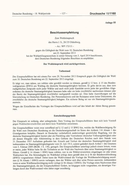 Bundestag lehnt Einspruch zur Bundestagswahl ab -1