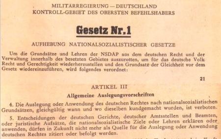 Aufhebung der Nazigesetze