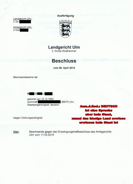 Beschluss des LG Ulm OWi vom 08.04.15 Seite 1[1]