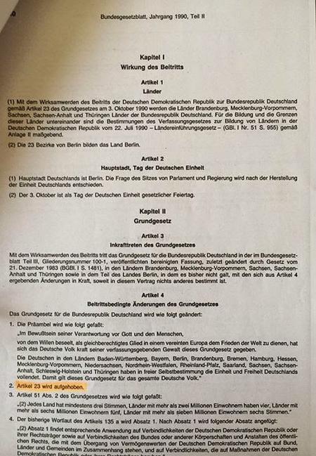 Angebliche Wiedervereinigung = Scheinhochzeit zweier Leichen (BRD und DDR)..