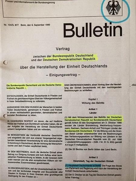 Angebliche Wiedervereinigung = Scheinhochzeit zweier Leichen (BRD und DDR).