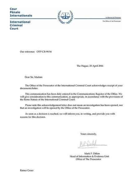 Internationaler Strafgerichtshof vergibt erstmals seit 2012 wieder Aktenzeichen für deutschen Strafantrag.