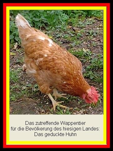 Wappentier für Deutschland - geducktes Huhn