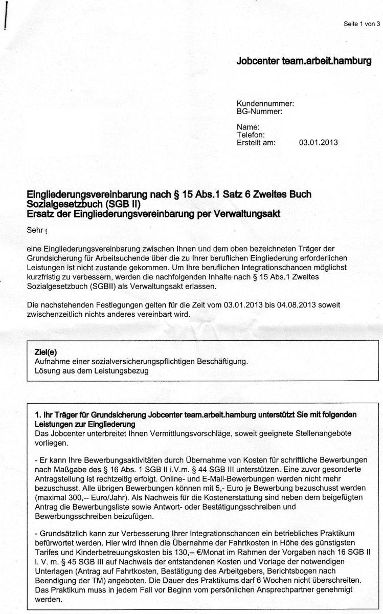 eingliederungsvereinbarung (egv) und verwaltungsakt = unzulässige, Einladung